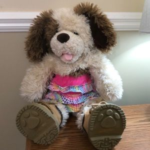 Build-A-Bear Puppy with skirt and boots.